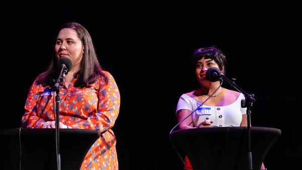 Contestants Natasha Baker-Bradley and Letty Leal Evans appear on <em>Ask Me Another</em> at the Paramount Theatre in Austin, Texas.
