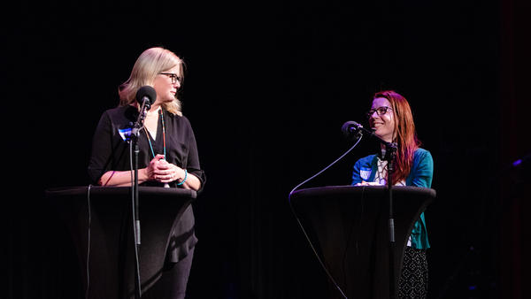 Contestants Christine Whalen and Wendi Aarons appear on <em>Ask Me Another </em>at the Paramount Theatre in Austin, Texas.