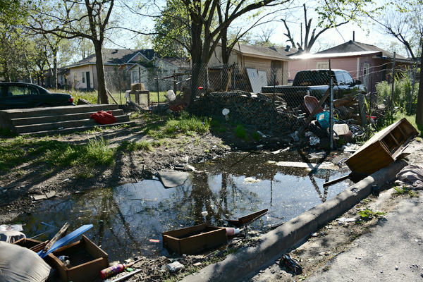 Standing water and abandoned tires make Houston's Fifth Ward hospitable for mosquitoes.