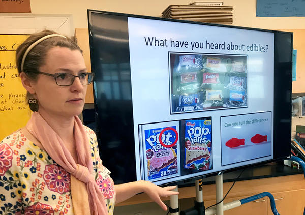 Dawn Charlton, an instructor with Being Adept, leads a discussion on marijuana for sixth-graders at Del Mar Middle School in Tiburon, California.