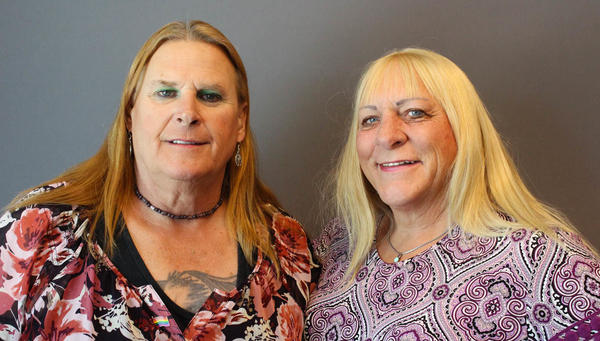 "Veterans Sue McConnell (left) and Kristyn Weed bonded quickly after meeting at a weekly VA transgender support group. ""You're always there for me,"" Weed told McConnell last month at StoryCorps in Tucson, Ariz. ""There's never a doubt or question as to whether you would be or not."""