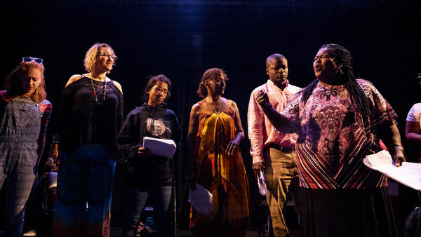 The cast of <em>East of the River</em> performs at the Anacostia Arts Center Friday night.