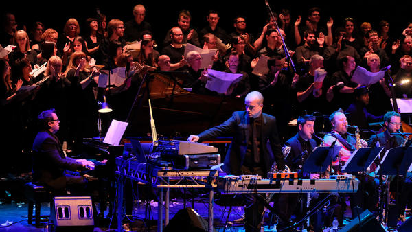 The Matthew Herbert Brexit Big Band, with the London Brexit Choir, performing at the Barbican Centre in 2017.