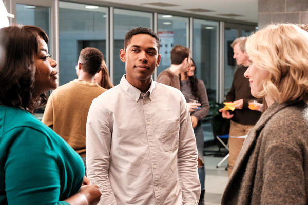 Luce (Kelvin Harrison Jr., center) is an athletic and popular star student in director Julius Onah's film, based on J.C. Lee's play.