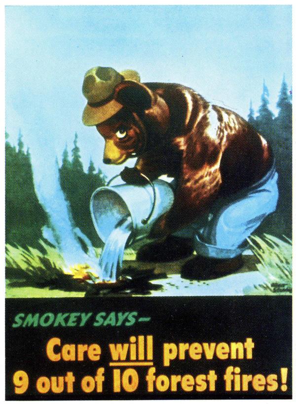 Smokey Bear's first poster, 1944.