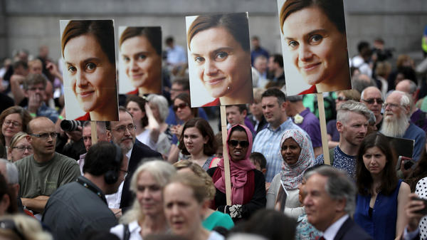 Memorial event for Member of Parliament Jo Cox, of the Labour Party. Her murder by a man radicalized on the Internet prompted Parliament to examine digital threats to lawmakers, especially women in the United Kingdom.
