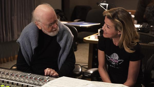 John Williams (left) and Anne-Sophie Mutter at a recording session at Sony Pictures Studios for <em>Across the Stars</em> available via Deutsch Grammophon.