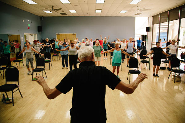 Bob Orozco, 89, leads his fitness class at the YMCA in Laguna Niguel, Calif. He teaches 11 classes each week at the facility. Orozco may be an outlier, still working at 89, but statistics show that there may be more people like him in the near future. About 1 in 4 adults age 65 and older is now in the workforce.