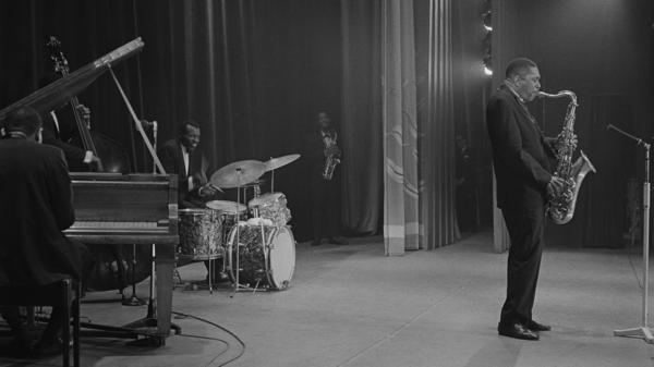 "John Coltrane performs with drummer Elvin Jones and saxophonist Eric Dolphy in 1961. Impulse! Records is set to release the ""lost"" Coltrane album <em>Blue World </em>on Sept. 27."