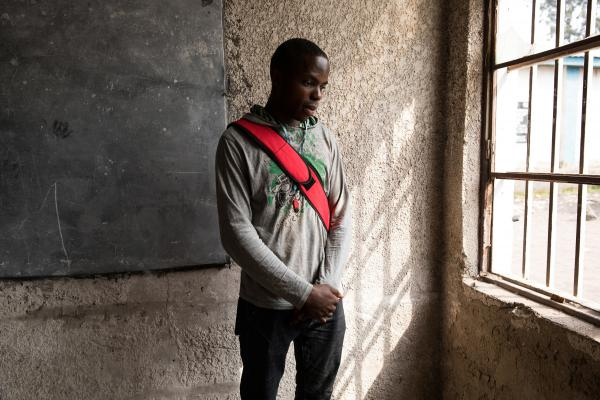 Samuel Swedi, 22, is an electrical engineering student at Goma University in the Democratic Republic of Congo. He doesn't have a textbook — just whatever notes he has written in his notebook.