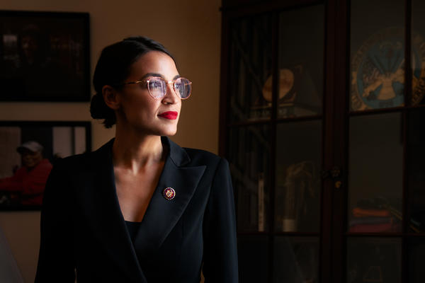 Rep. Alexandria Ocasio-Cortez in her Capitol Hill office.