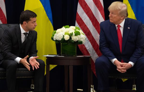President Trump and Ukrainian President Volodymyr Zelenskiy speak during a meeting in New York on Wednesday, on the sidelines of the U.N. General Assembly in New York City.