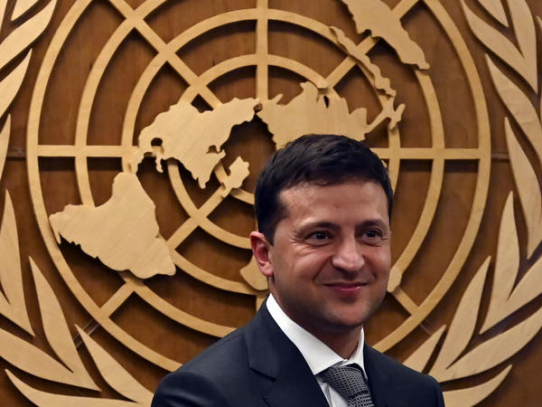 Ukrainian President Volodymyr Zelenskiy smiles after meeting United Nations Secretary-General António Guterres during the 74th Session of the General Assembly on Thursday in New York.