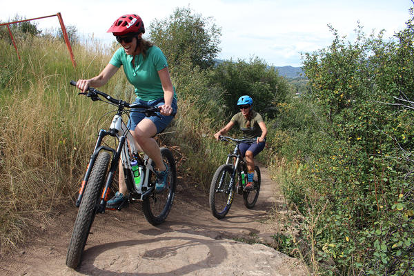Barb Dowski (left) and Laraine Martin, both of local mountain biking group Routt County Riders, are in favor of the Mad Rabbit trail proposal, which has divided the community's recreational user groups.