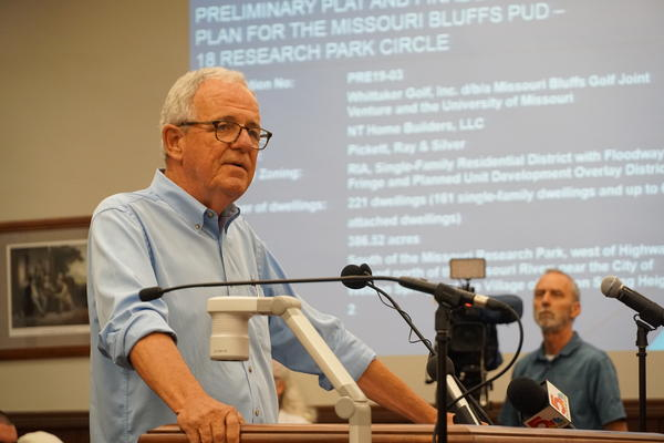 Dan Burkhardt of the Katy Land Trust voiced concerns over the proposed Missouri Bluffs development during a St. Charles Planning and Zoning Commission meeting Wednesday night.