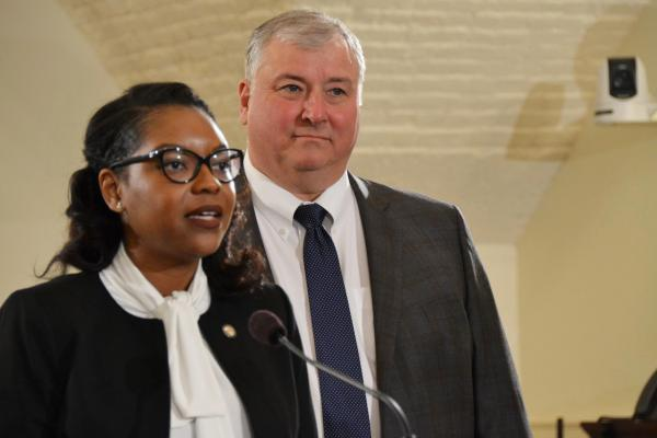 House Minority Leader Emilia Sykes (D-Akron) and House Speaker Larry Householder (R-Glenford) unveil new cameras installed in a committee room in March.