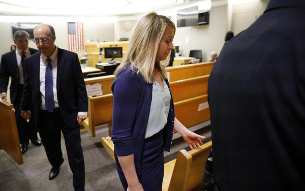 Former Dallas police officer Amber Guyger leaves the courtroom after a jury found her guilty of murder on Tuesday.