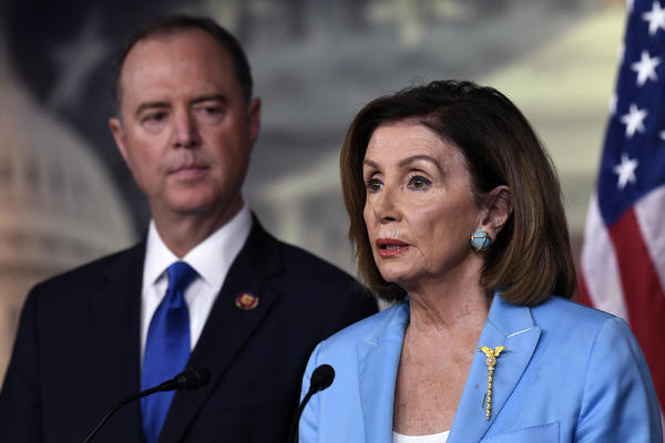House Speaker Nancy Pelosi, D-Calif., and House Intelligence Committee Chairman Adam Schiff, D-Calif., hold a news conference on Capitol Hill on Wednesday.