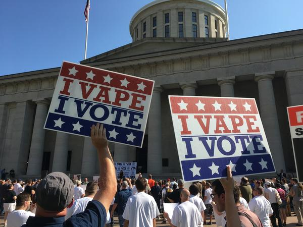 Signs from pro-vaping rally