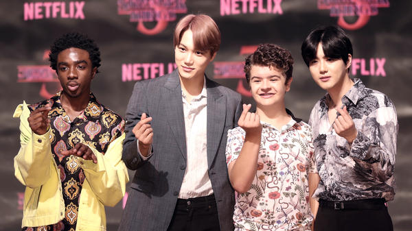 From left: Caleb McLaughlin, Kai, Gaten Matarazzo and Suho, photographed in Seoul, South Korea on June 20, 2019. McLaughlin and Matarazzo star in the popular Netflix series <em>Stranger Things; </em>Kai and Suho are members of the K-pop group EXO.