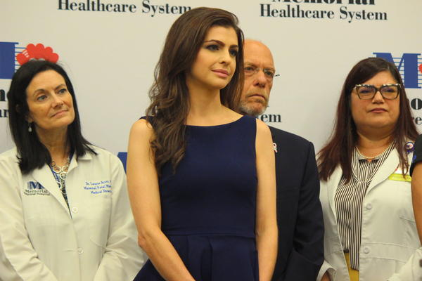 Florida first lady Casey DeSantis stands with physicians from Memorial Regional Hospital on Wednesday, October 2, 2019.