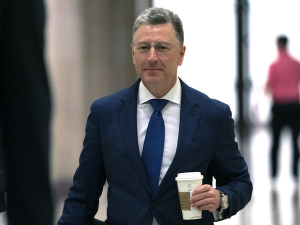 Kurt Volker, former U.S. special envoy to Ukraine, arrives for a closed-door interview with House investigators on Thursday. House Democrats are proceeding with the impeachment inquiry of President Trump.