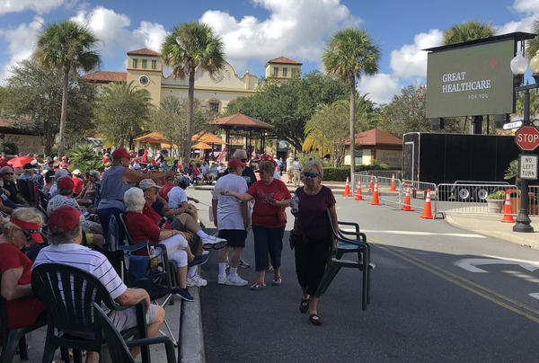 A crowd gathers at The Villages ahead of President Donald Trump's appearance on Oct. 3, 2019. ABE ABORAYA/WMFE