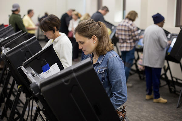 Citizens in St. Louis County cast their vote on Oct. 25, 2018. The Missouri Supreme Court will decide whether voters who do not show a photo ID can vote without signing an affidavit.