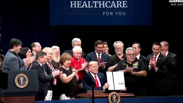 President Donald Trump visited The Villages in Florida Thursday to discuss his Medicare plan.