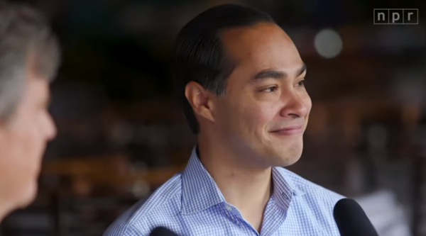 "Julián Castro is interviewed by two undecided voters at Mi Tierra in San Antonio as part of NPR's series ""Off Script."""
