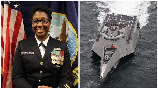 Chief Petty Officer Kara Rush from the Cleveland area is one of two Ohioans stationed aboard the USS Cincinnati.