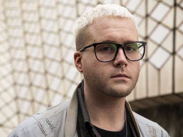 Christopher Wylie, a Canadian data scientist, speaks on Aug. 31 at the Antidote festival at the Sydney Opera House about his role in exposing the work of Cambridge Analytica.