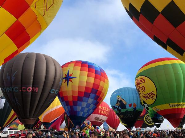 Hot air balloons are inflated during the annual Albuquerque International Balloon Fiesta in New Mexico on Saturday.