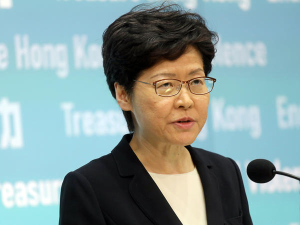 "Chief Executive Carrie Lam said she still believes that the people of Hong Kong ""should find solutions ourselves."""