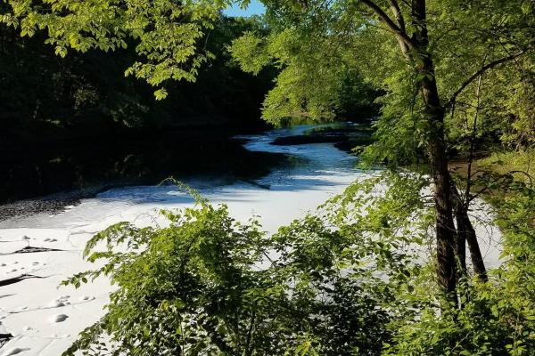 Firefighting foam that spilled into the Farmington River in June 2019. A ban on eating fish from a portion of the river remains in place.