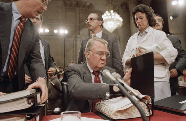 Then-Attorney General Edwin Meese III appears before the congressional committee investigating the Iran-Contra scandal in 1987.