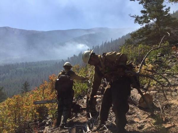 Crews work to prep the Rainbow Trail area as the Decker Fire continues to burn.