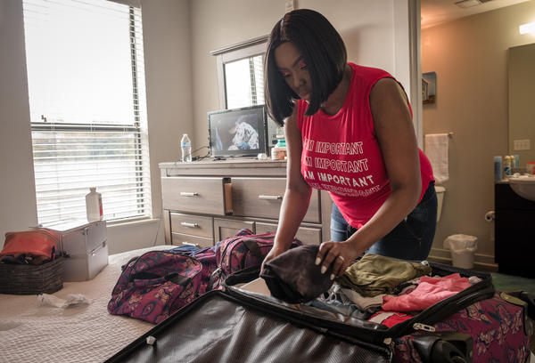 Victoria Gray packs her bags in preparation for leaving Nashville, Tenn., where she has been the first patient involved in a trial to try to treat sickle cell disease using the powerful gene-editing technique CRISPR.