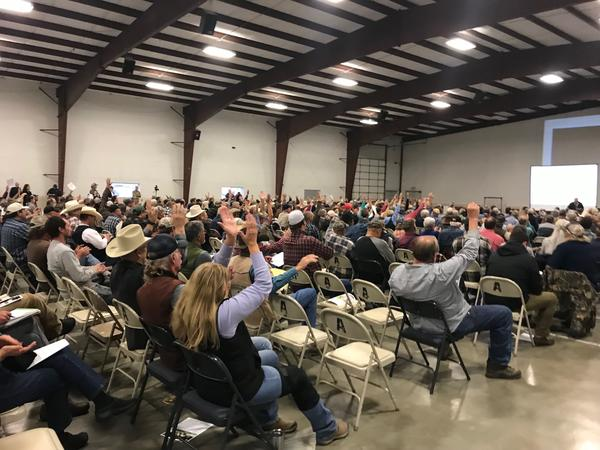Around 450 people came to the Okanogan County Fairgrounds Monday, Oct. 7, 2019 for a public meeting about possible grizzly bear reintroduction in the North Cascades. Most voiced opposition to the idea, including U.S. Rep. Dan Newhouse.