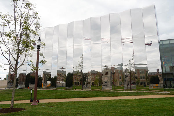 The Mildred Lane Kemper Art Museum's new facade is 34 feet tall and made of pleated stainless steel.
