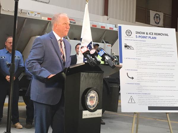 Akron Mayor Dan Horrigan outlines the city's new  five-point plan for snow and ice removal.