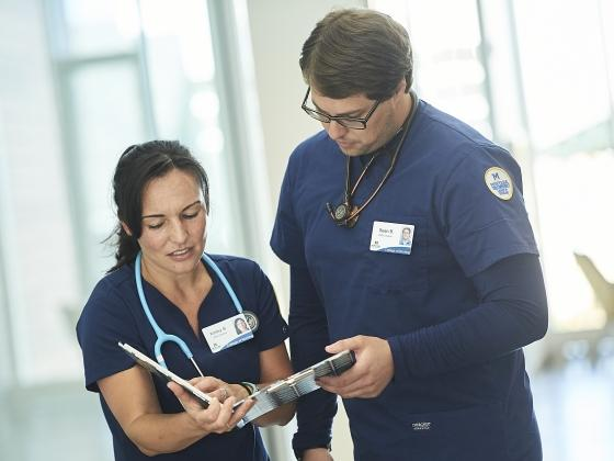 Montana State nursing students Kelley Bryan and Sean Barbula review notes Friday, August 2, in Bozeman.