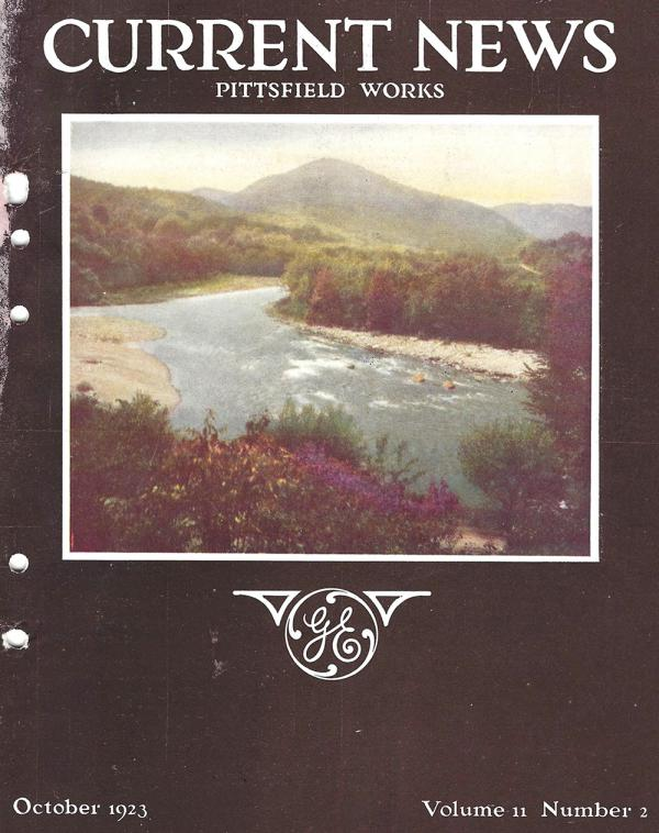 """""""Current News,"""" a 1923 publication of GE, pictures the Housatonic River on the cover."""