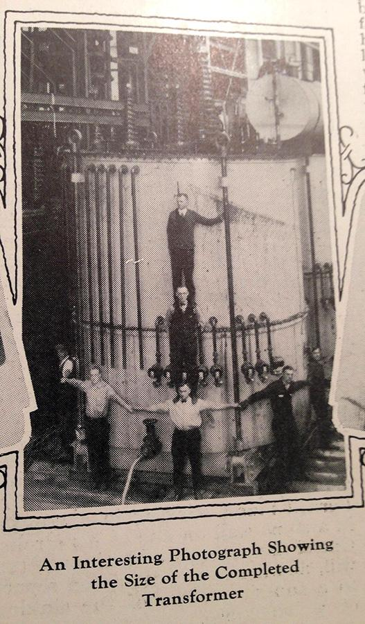"""An image in a 1926 """"Current News,"""" a GE publication, touts large transformers built in Pittsfield, Massachusetts."""