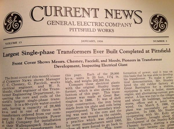 """A headline in """"Current News"""" in 1926 touts the transformers manufactured in Pittsfield, Massachusetts."""