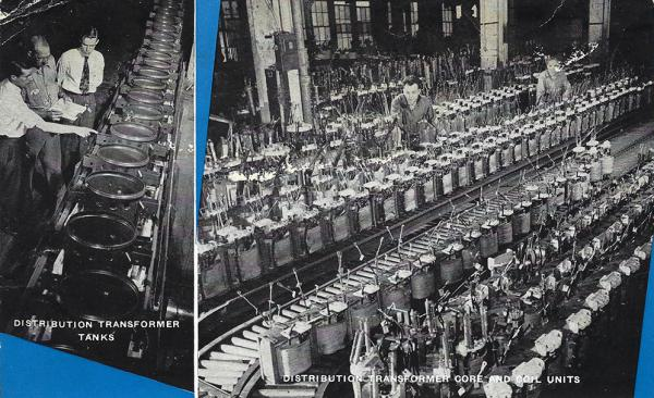 Undated GE postcards depict transformer production.