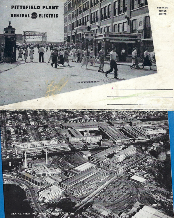 Undated GE postcard shows workers at the plant in Pittsfield, Massachusetts, and an aerial view of GE's transformer division.