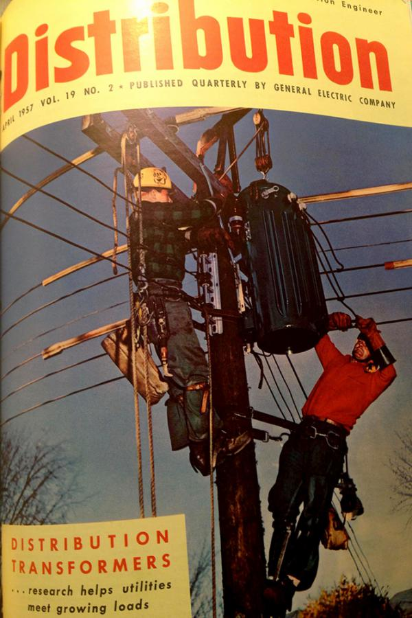 The cover of a 1957 industry publication highlights GE's distribution transformers.
