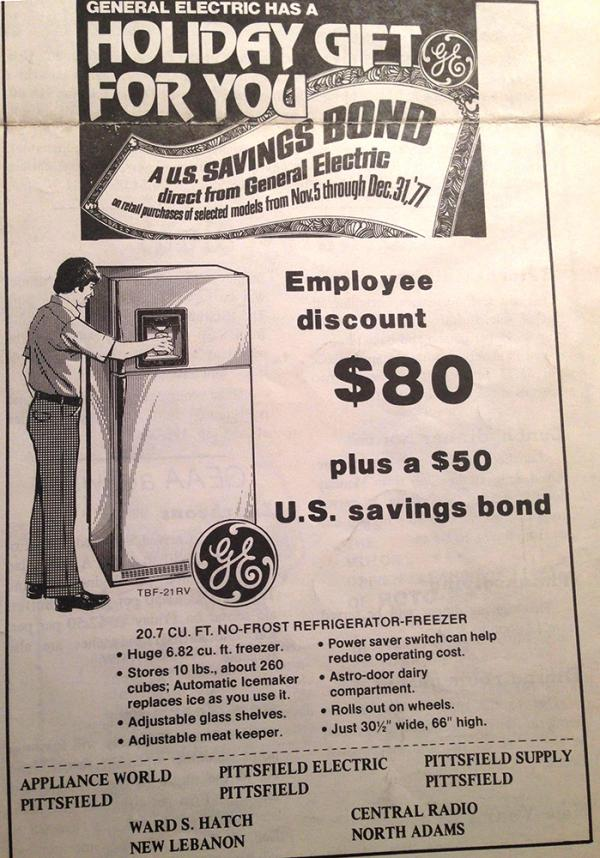 An undated ad touts a GE employee discount for GE products.