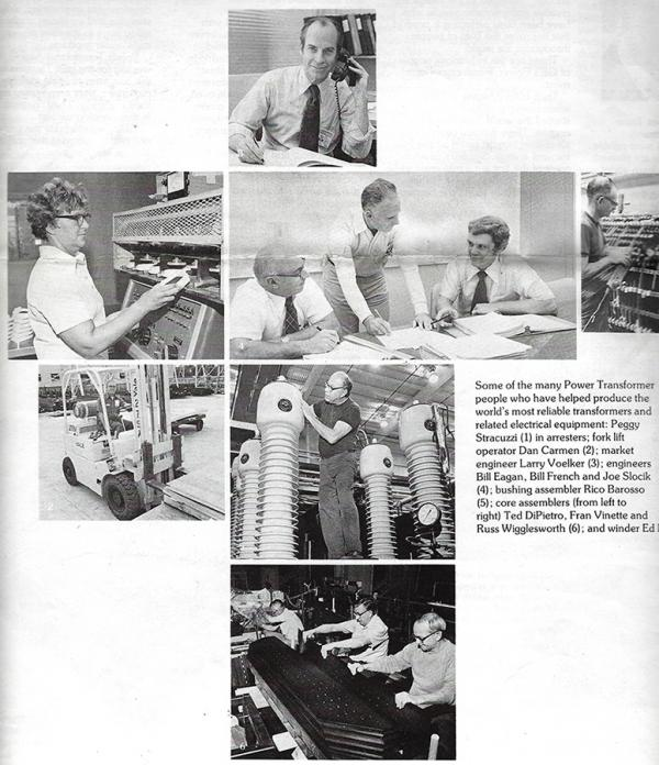 An undated set of images from a 1978 GE publication marking the 75 anniversary of the company in Pittsfield, Massachusetts.